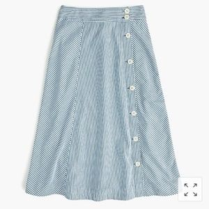 J. Crew side button striped skirt
